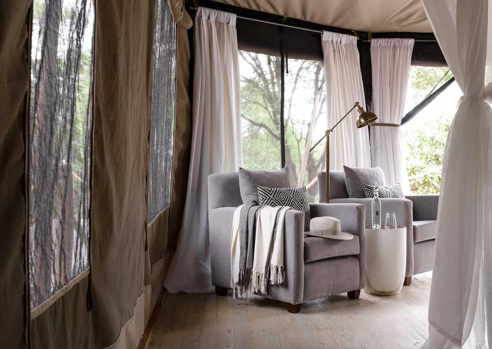 Swala Camp tent sitting area