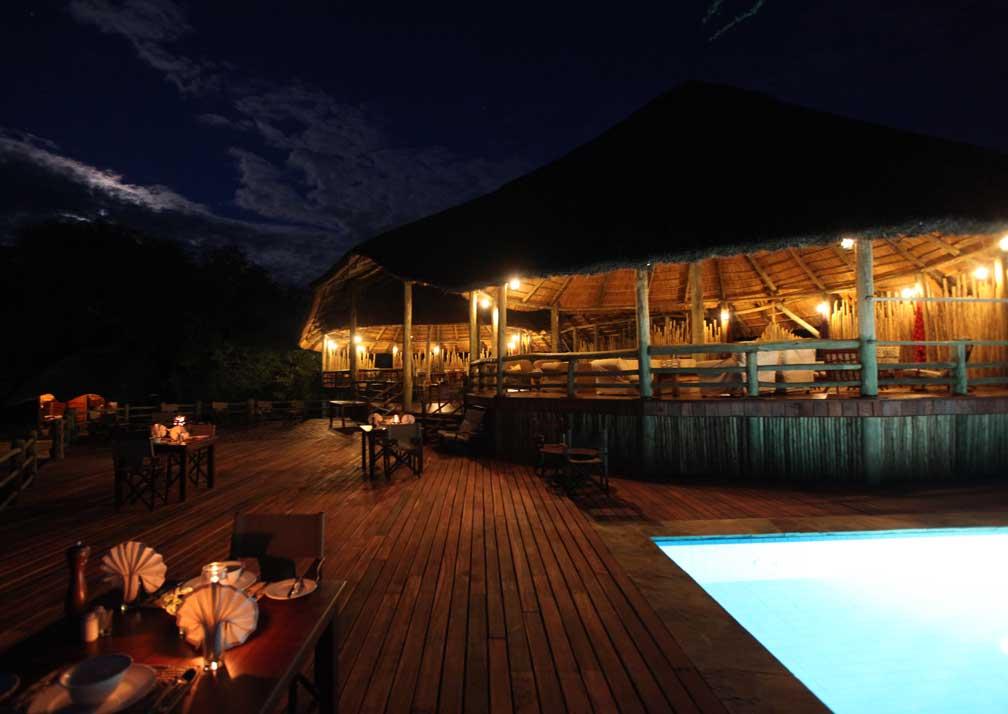 Mbali Mabli Tarangire River Camp pool at night