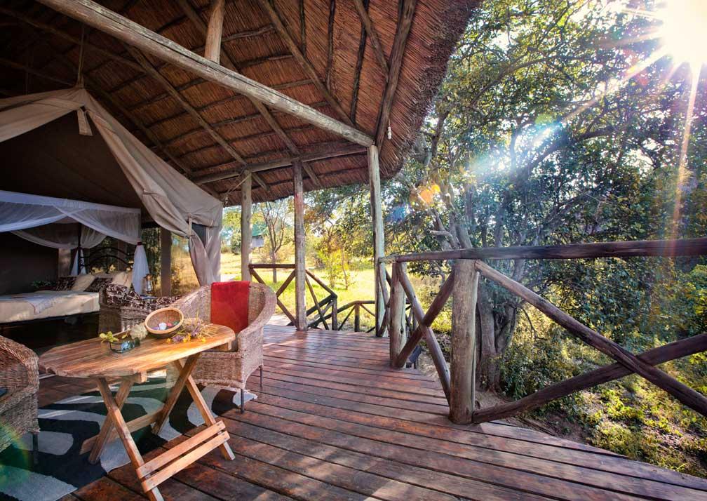 Luxury safari tent deck