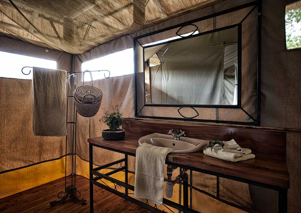 Family safari tent bathroom