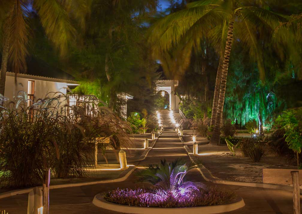 Kisiwa on the Beach gardens after dark