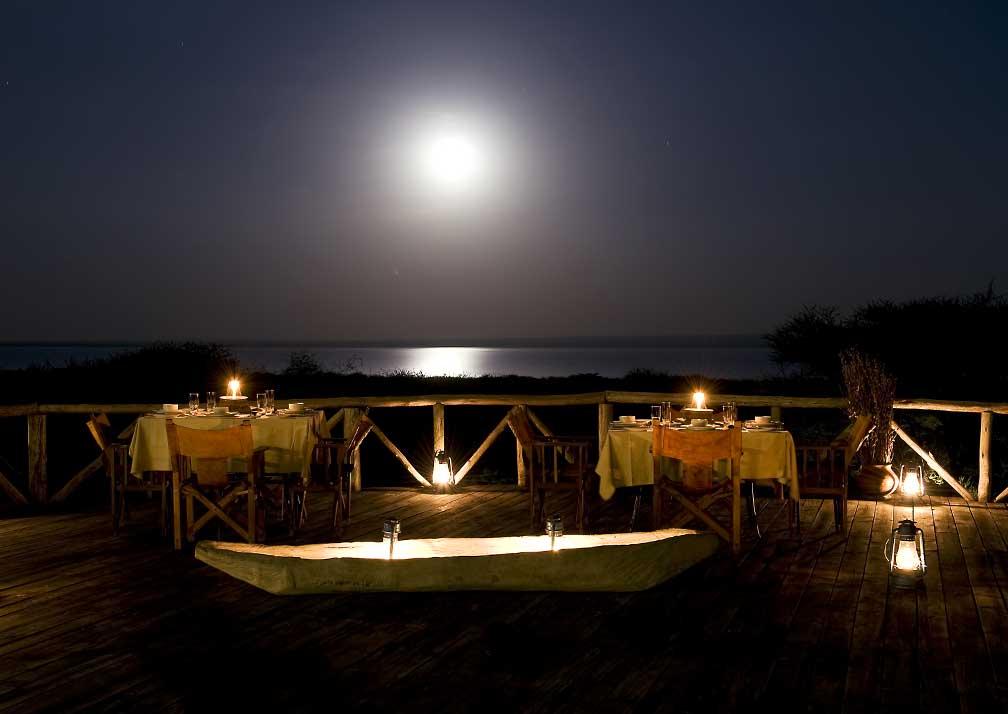 Lake Burunge Tented Camp deck at night